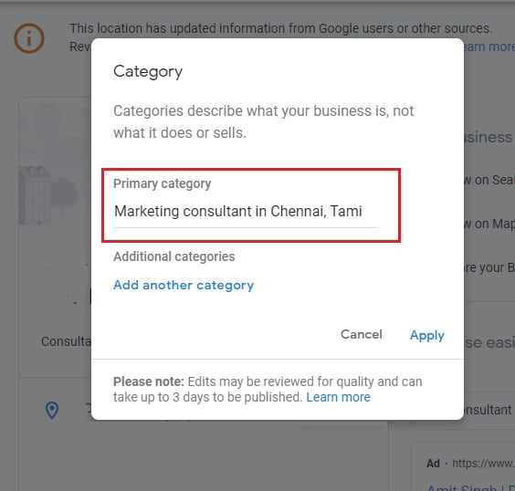 Choose the category - How To Optimize Your Google My Business