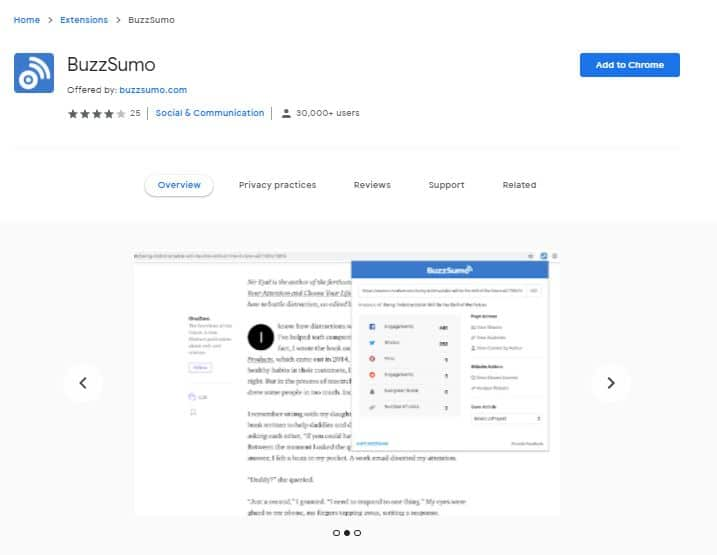 BuzzSumo - Must Use Chrome Extensions For SEO