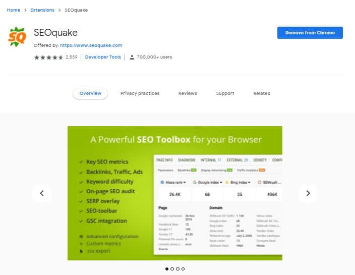SEO Quake - Must Use Chrome Extensions For SEO