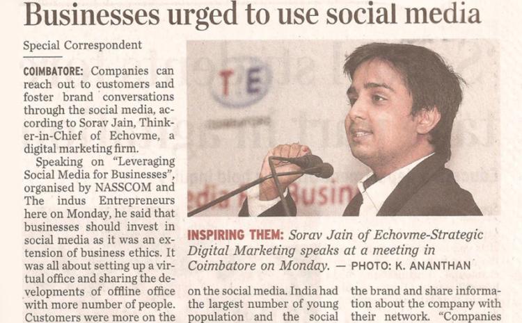 The Hindu Covers Sorav Jain's Social Media Talk @ Coimbatore